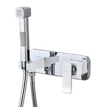 Смеситель для биде Lemark Contest LM5819CW, хром/белый с гигиеническим душем
