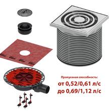 Комплект точечного трапа tece kdp-s110 с сифоном dn 50,с декоративной решеткой, производительность 0,52-1,12 л/с  KDP-S110