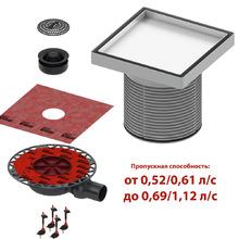 Комплект точечного трапа tece kdp-l50 с сифоном dn 50, с основой под плитку, производительность 0,52-1,12 л/с KDP-L50