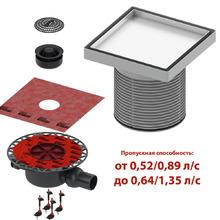 Комплект точечного трапа tece kdp-n50 с сифоном dn 50, с основой под плитку, производительность 0,52-1,35 л/с KDP-N50