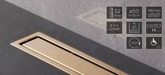Душевой лоток Pestan Confluo Premium Gold Line 13100053 (золото 24 карат) (65 см)