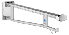 Складной поручень для туалета исполнение справа со встроенным радиоуправляемым смывом для туалета вылет 700 мм KEUCO PLAN CARE 34903011751 Хром/белый